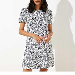 Floral Ruched Sleeve LOFT Dress Black White 14